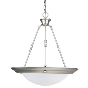 Energy Star Two-Light Satin Nickel Bowl Pendant with Faux Alabaster Glass