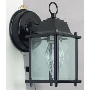 One-Light Square Black Outdoor Wall Lantern with Clear Beveled Glass