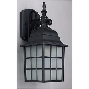 One-Light Black Outdoor Wall Lantern with Textured Frosted Glass