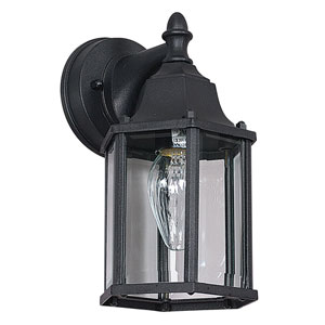 One-Light Black Outdoor Wall Lantern with Clear Beveled Glass