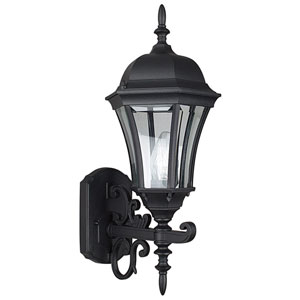 One Light Black Cast Aluminum Outdoor Wall Lantern with Clear Beveled Glass