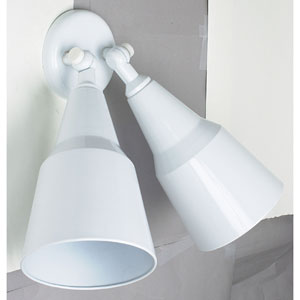 Two-Light White Outdoor Flood Fixture