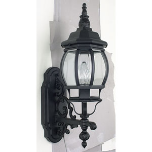One-Light Rounded Black Outdoor Upward Wall Lantern with Clear Beveled Glass