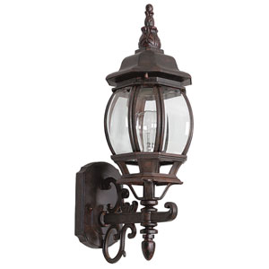 One-Light Rounded Rubbed Bronze Cast Aluminum Outdoor Wall Lantern with Clear Beveled Glass