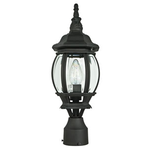 One-Light Rounded Black Outdoor Post Lantern with Clear Beveled Glass