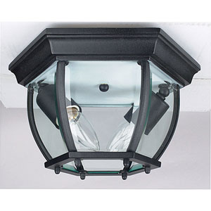 Two-Light Black Outdoor Flush Mount with Clear Beveled Glass