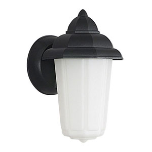 One-Light Black Outdoor Fluorescent Wall Fixture with White Plastic Lens