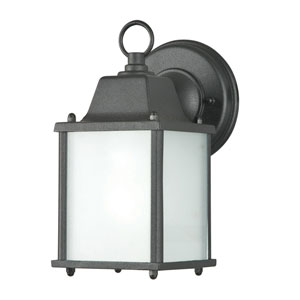 One-Light Square Black Outdoor Fluorescent Wall Fixture with Frosted Glass Panels