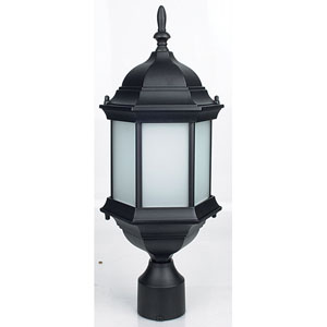 One-Light Black Outdoor Post Lantern with Textured Frosted Glass