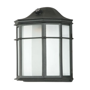 Energy Star One-Light Black Outdoor Wall Fixture with Photo Cell and Frosted Acrylic Panel