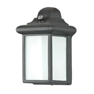 Energy Star Small One-Light Black Outdoor Wall Fixture with Photo Cell and Frosted Glass Panel
