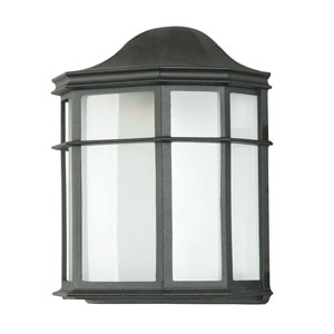 One-Light Black Outdoor Wall Fixture with White Acrylic Lens