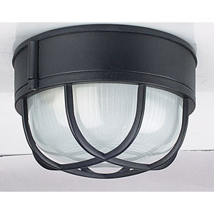 One-Light Black Outdoor Bulkhead Flush Mount with Frosted Prismatic Glass