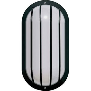 One-Light Black Outdoor Fluorescent Wall Fixture with White Acrylic Lens