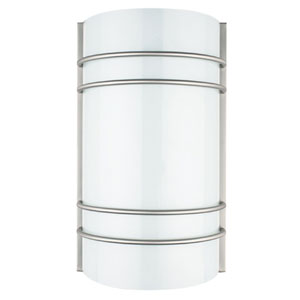 Energy Star Fluorescent One-Light Bright Satin Nickel Wall Sconce with Opal Round Glass