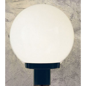 Outdoor Builders One-Light Black Outdoor Post Fixture with White Acrylic Globe