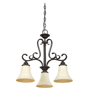 La Forge Three-Light Oil Bronze Chandelier with Turismo Glass