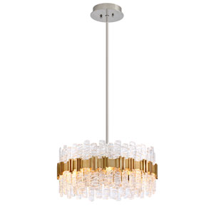 Ciro Silver Leaf with Polished Stainless Accents Eight-Light Pendant