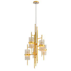Symphony Gold Leaf with Polished Stainless Accents 53-Inches Five-Light Chandelier