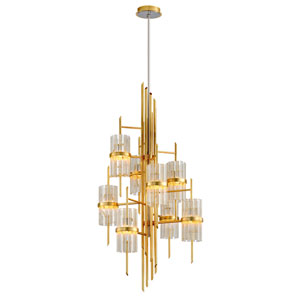 Symphony Gold Leaf with Polished Stainless Accents Eight-Light Chandelier