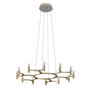 Nexus Silver Leaf with Polished Stainless Accents 12-Light Chandelier