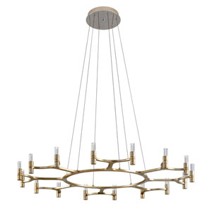 Nexus Silver Leaf with Polished Stainless Accents 16-Light Chandelier