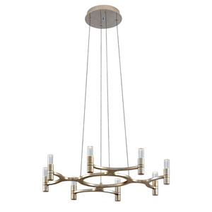 Nexus Silver Leaf with Polished Stainless Accents Eight-Light Chandelier