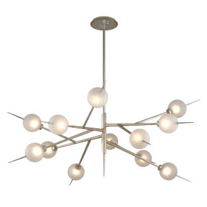 Tempest Grey LED 12-Light Chandelier With Glass Shade