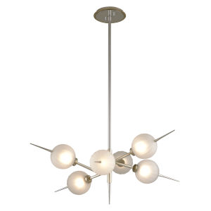 Tempest Grey LED 35-Inch Six-Light Chandelier With Glass Shade