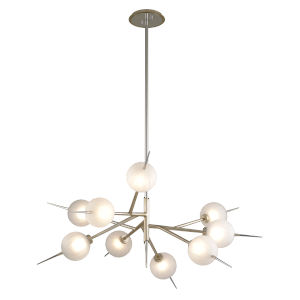 Tempest Grey LED Nine-Light Chandelier With Glass Shade