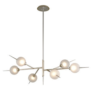 Tempest Grey LED Six-Light Chandelier With Glass Shade