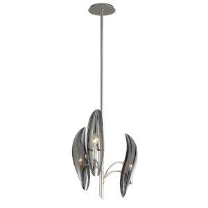 Sofia Grey Three-Light Chandelier With Glass Shade