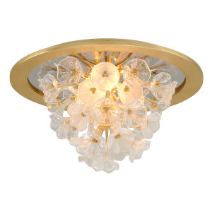 Jasmine Gold LED One-Light Flush Mount With Glass Florals