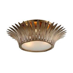 Romanov Vintage Brass 25-Inch Three-Light Flush Mount