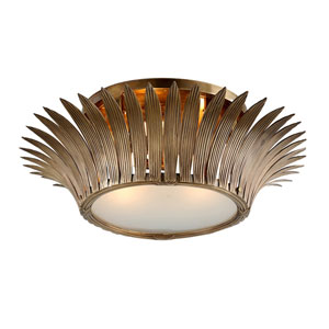 Romanov Vintage Brass 30-Inch Three-Light Flush Mount