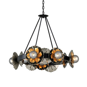 Magic Garden Black Graphite Bronze Leaf 10-Light Chandelier