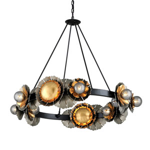 Magic Garden Black Graphite Bronze Leaf 16-Light Chandelier