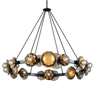 Magic Garden Black Graphite Bronze Leaf 24-Light Chandelier