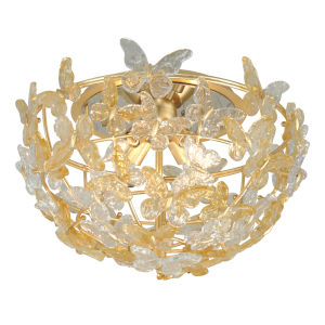 Milan Gold Four-Light Flush Mount With Italian Glass Shade