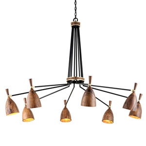 Utopia Satin Black 63-Inch Eight-Light LED Chandelier with Acacia Shades