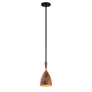 Utopia Satin Black Six-Inch One-Light LED Mini-Pendant with Acacia Shades