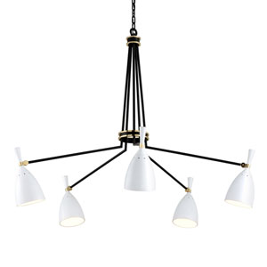 Utopia Satin Black 51-Inch Five-Light LED Chandelier with Satin White Shades