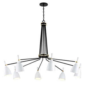 Utopia Satin Black 63-Inch Eight-Light LED Chandelier with Satin White Shades