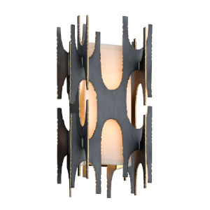 Black Gold Two-Light Wall Sconce With off-White Linen Shade