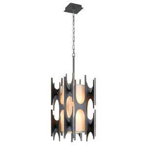 Black Gold Four-Light Pendant With off-White Linen Shade