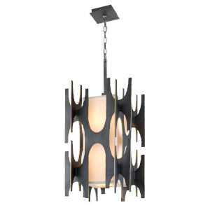 Black Gold Eight-Light Pendant With off-White Linen Shade