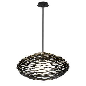 Luma Black Gold 30-Inch One-Light Pendant With Glass Shade