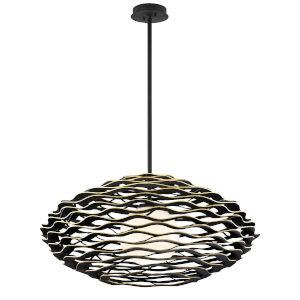 Luma Black Gold One-Light Pendant With Glass Shade