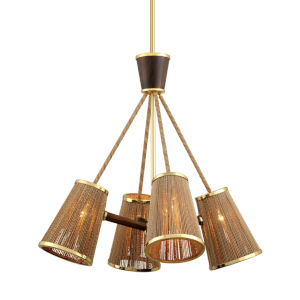 Rhodos Polished Brass 31-Inch Four-Light Chandelier