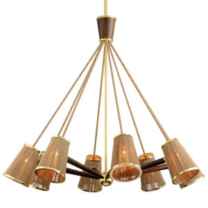 Rhodos Polished Brass 55-Inch Eight-Light Chandelier